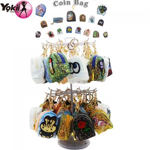 Patch Coin Purse Keyring & Bag Accessories Display (60Pcs/Display incl.Header)